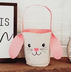 Easter bunny basket pink polka dot farmhouse